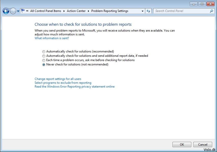 Deaktiver fejlrapportering i Windows