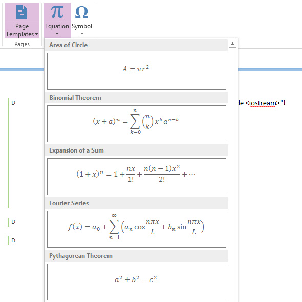 OneNote formler ligninger