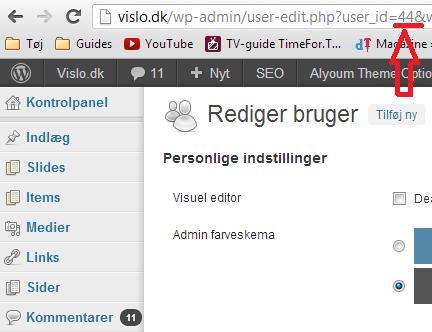 Wordpress bruger id