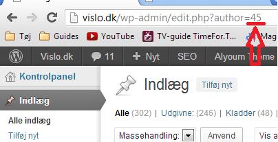 Wordpress eget bruger id