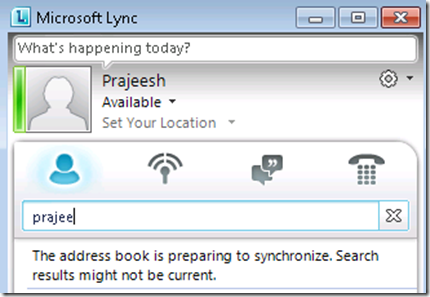 The address book is preparing to synchronize Lync problem