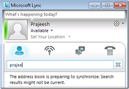 The address book is preparing to synchronize Lync problem