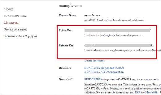 Google reCAPTCHA api keys